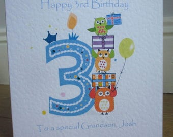 Personalised 3rd Birthday Owls Card available in pink or blue any relation