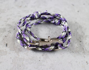 Cord Tiga - purple amet paracord cord wrap bracelet with silver metal clasp, unisex, adjustable size, limited edition