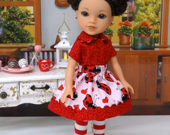 Love Bug - Blouse, skirt, tights & shoes for Wellie Wisher doll
