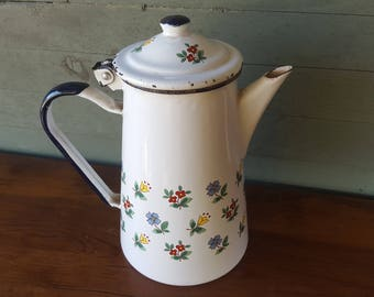 Beautiful French Vintage Enamel Coffee Pot Jug Floral Ciirca 1900