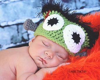 Frankenstein Hat Pattern, Crochet Frankenstein Hat, Newborn Monster Pattern, Frankenstein Crochet Patter, Newborn Halloween Crochet Pattern