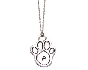 Paw Initial Necklace - Pawprint Silver Personalized Engraved Letter - Custom Necklace - Initial Dog Name, Gift idea for puppy lovers