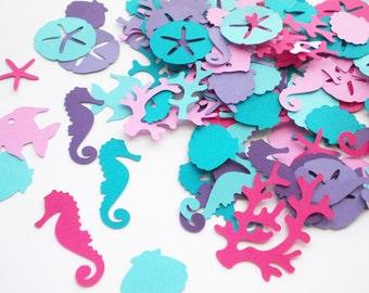 Nautical Confetti, Under the Sea Party, Purple & Blue Seahorse Confetti, Mermaid Decorations, Table Confetti, Birthday Party 100 Ct.