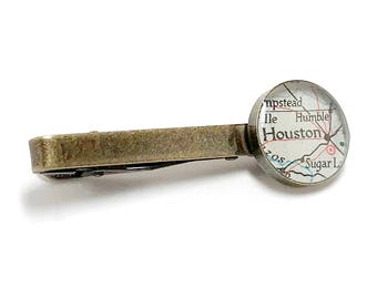 Houston Map Tie Clip. Houston Tie Tack. Made With A Vintage 1939 Map. Ready To Ship. Texas Map Tie Bar. Travel Gifts For Him. Wedding.