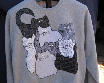 cat collage sweatshirt