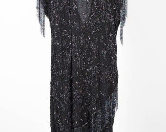 Sequin Fringing Evening Gown - 80s Plus Size Black Fringe and Sequins Gown -