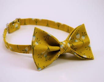 Yellow bowtie with flowers