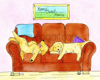 Whimsical Golden Retriever couch print 5x7