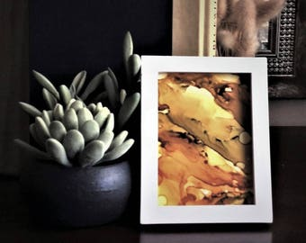 Fluid painting | alcohol ink art | small abstract painting | framed abstract art | desktop decor | modern abstract | original artwork