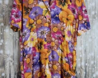 JS_004) Vintage Flowers short Summer jumpsuit
