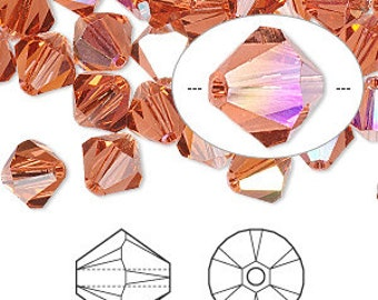 8mm Padparadscha AB - Swarovski Bicone Crystals - Package of 10