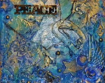 Peace-Mixed Media Canvas