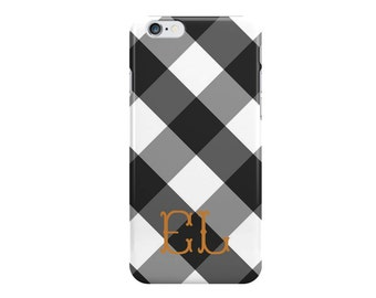 Black Gingham Monogrammed iPhone Case [Personalized iPhone 6 iPhone 7 case]