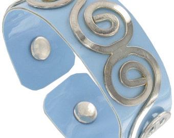 Light Blue Vinyl Scroll Cuff Bracelet Vintage 1980s