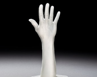 "3D Printed White Translucent Mini Hand Sculpture from ""Ascent"" Project"