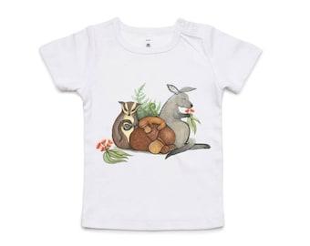 Australian Native Baby Animals baby tshirt (with kangaroo, platypus and sugar glider).  Sizes 6 - 12 month & 12 - 18 month