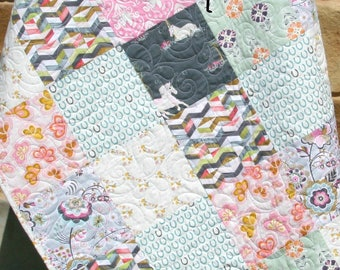LAST ONES Quilt Kit Fantasia Unicorn Horse Baby Girl Toddler Bed Quilt Nursery Bedding Sewing Quilting Project, Pink Mint Green Gray, Modern