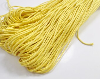1.5mm Yellow Waxed Cotton Cord , 25 metres/50 metres Yellow Macrame Cord, Cotton Cording, Braided Cotton Cord, Jewelry Cord, GD110