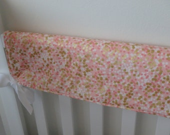 Coral, Pink and Gold Dot Teething Crib Rail Cover