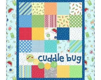 Cuddle Bug Flannel Quilt Kit in Blue - Lil' Sprout Flannel Too! - Baby Boy Quilt Kit by Maywood Studio