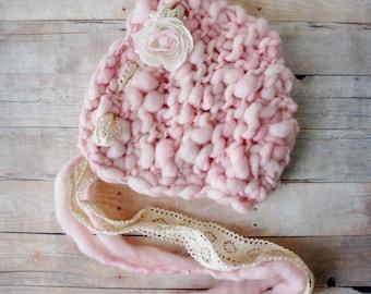 Knit Baby Bonnet, Newborn Baby Hat, Baby Photo Prop, Newborn Photo Props, Baby Hat, Knit Baby Hat in Handspun Pink Yarn