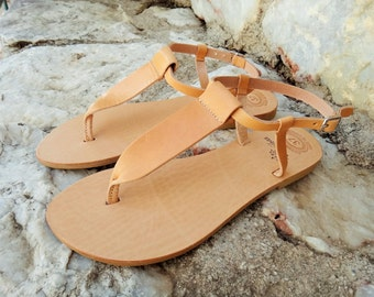 Ancient Greek Leather Sandals / Natural / Gold / Silver / T-bar Genuine High Quality Greek Leather Sandals