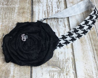 Hounds-tooth Black Baby Headband, Black and White Baby Headband Photo Prop - 012