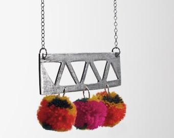 triangle pompom necklace
