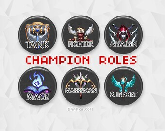 LoL Roles - Tank, Fighter, Assassin, Mage, Marksman, Support (Pin-Back Button)