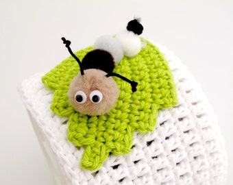 Caterpillar Disc Spindle Cover. Crochet. Cozy.
