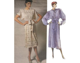 1980s Albert Nipon Dress Vintage Vogue Designer Sewing Pattern 1692 Loose Fitting Pleated Front Kimono Sleeves Size 8 Bust 31.5