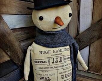 Primitive Snowman | Snowman decor | Snowman Doll | Christmas Snowman | Holiday Decor | Snowman Decoration |  Folk Art Snowman