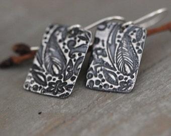Sterling Silver Botanical Embossed Earrings, Sterling Silver  Tag Earrings, Dangle Earrings, Rustic Floral, PMC Earrings