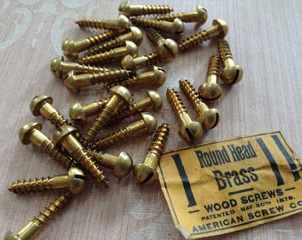 Vintage Brass Screws, Round Head Slotted Wood Screws, New Old Stock Hardware Supply, Woodworking Carpentry Supply - Lot of 28 Screws