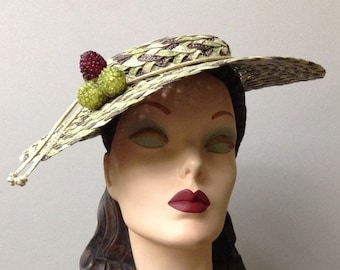 Straw Braid Saucer Hat, Derby Hat, Celery Ivory and Taupe Wide Brim Summer Boater Sun Hat