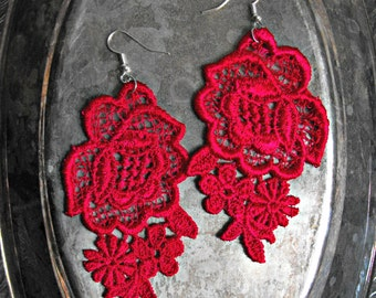 Hot Pink Lace Earrings with Silver Hooks