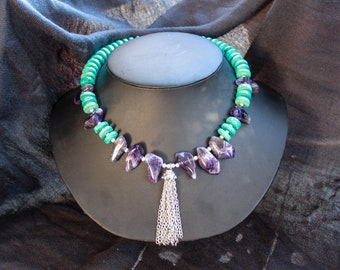 Turquoise, amethyst and tassel statement necklace
