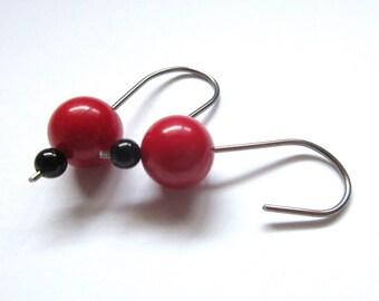 Allergy Safe Niobium Earrings, Red Round Sea Bamboo Earrings For Women, Hypoallergenic Gifts For Teacher, Wife, Girlfriend, Sensitive Ears.