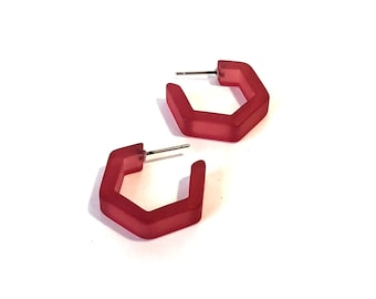Cranberry Hoop Earrings   Cranberry Mauve Red Frosted Honeycomb Hex Hoops   mod lucite hoop earrings