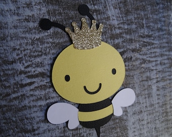 Set of 10 Bumble Bees with Gold Glitter Crown, King Bee