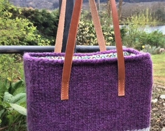 Knitted Bag / Tote / Hand Knit / Felted / Leather Handles / Cotton Lined / Purple / Grey