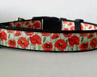 "Floral Dog Collar - Adjustable Dog Collar - Poppy Collar, Flower Collar - 3/4"""