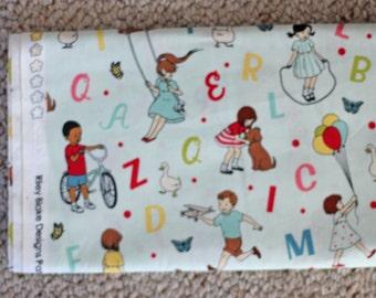 October Afternoon Riley Blake - Sidewalks in Teal - 1 Yard - Designer Fabric Destash Boy Kids Girl Play Alphabet Blue