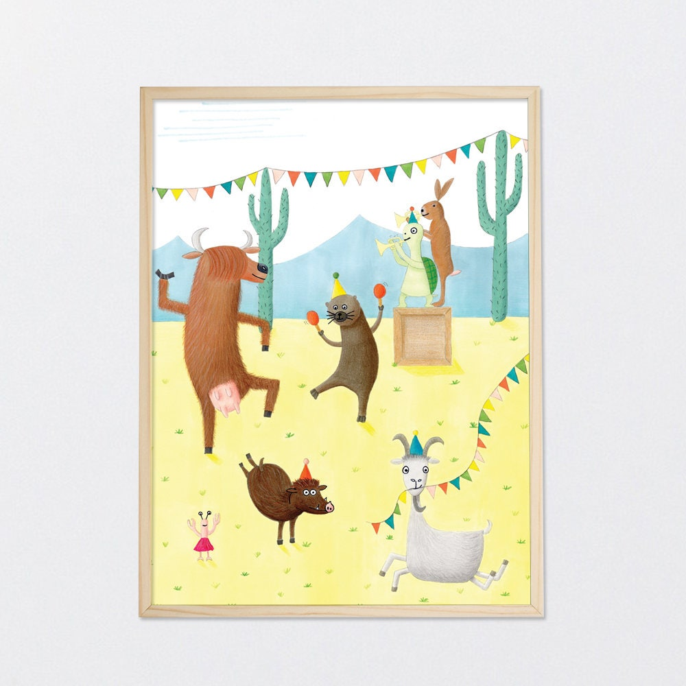 Party poster 30x40 cm animal illustration fun quirky