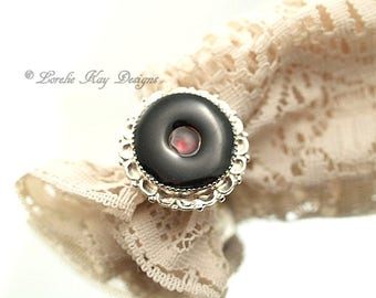 Garnet Resin Ring Black and Red Cast Resin Ring Fine Silver Plated Modern Big Black Circles Ring