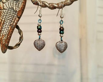 FREE SHIPPING Colorful beaded earrings with silver hearts