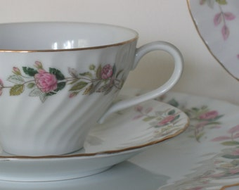 Vintage Rose China Set . Cottage Chic . Farmhouse Fresh . Regency Rose . Five Piece Place Setting . Six Settings Available
