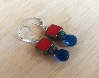 Red and Sapphire Blue Boho Earrings