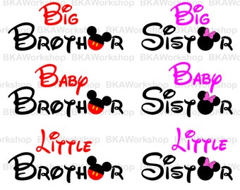 Brother, Sister Mickey svg - Brother, sister Minnie svg - Brother, sister digital clipart for Design or more, files download svg, png, dxf