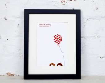 A5 Personalised Wedding Anniversary Heart on a String Print Personalized Watercolor Watercolour